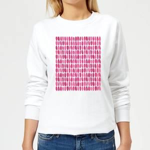 Pink Leafy Blobs Women's Sweatshirt - White