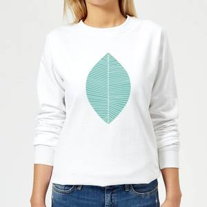 Plain Light Turquoise Leaf Women's Sweatshirt - White
