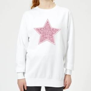 Floral Star Women's Sweatshirt - White