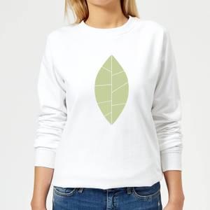 Plain Green Leaf Women's Sweatshirt - White