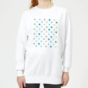 Blue Yellow Green Polka Dots Women's Sweatshirt - White