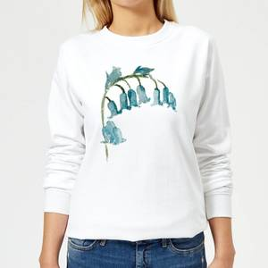 Blue Bells Flower Women's Sweatshirt - White