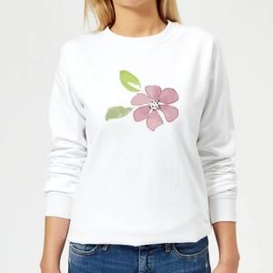 Pink Flower 2 Women's Sweatshirt - White