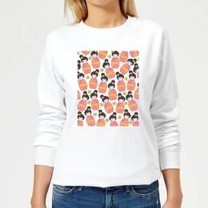 Day Time Geisha Scattered Pattern Women's Sweatshirt - White