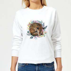 Curled Up Fox Within A Reef Women's Sweatshirt - White