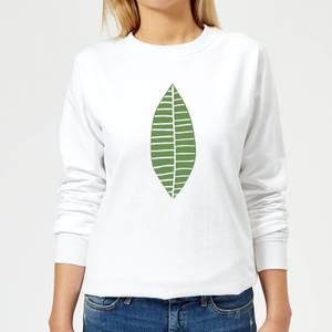 Plain Green Skinny Leaf Women's Sweatshirt - White