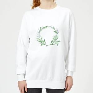 Green Leaf Reef Women's Sweatshirt - White