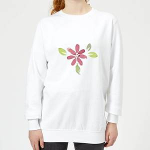 Pink Flower 1 Women's Sweatshirt - White