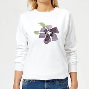 Purple Flower 1 Women's Sweatshirt - White