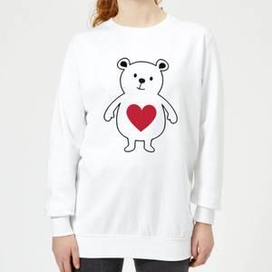 Love Heart Bear Women's Sweatshirt - White