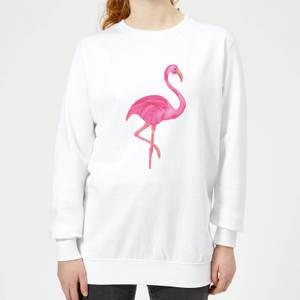 Pink Flamingo Women's Sweatshirt - White