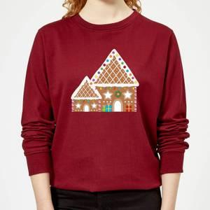 Gingerbread House Three Women's Sweatshirt - Burgundy
