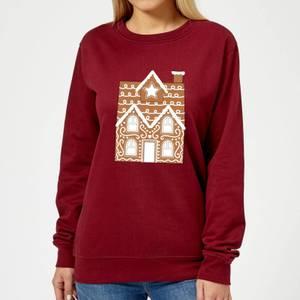 Gingerbread House Two Women's Sweatshirt - Burgundy