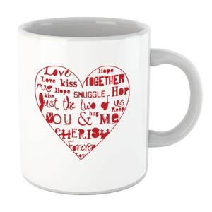 Love Dovey Words Heart Outline Mug