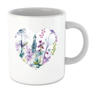 Floral Meadow Heart Mug