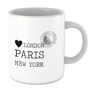 London Paris New York Stamp Mug