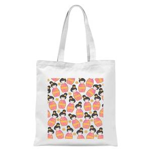 Day Time Geisha Scattered Pattern Tote Bag - White