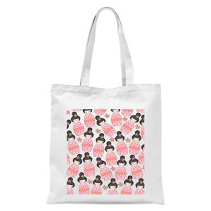 Pink Geisha Scattered Pattern Tote Bag - White