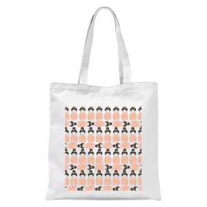 Orange Geisha Block Print Tote Bag - White