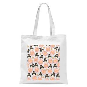 Orange Geisha Scattered Print Tote Bag - White