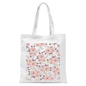 Floral Rose Pattern Tote Bag - White
