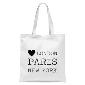Love Heart London Paris New York Tote Bag - White