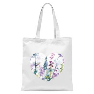 Floral Meadow Heart Tote Bag - White