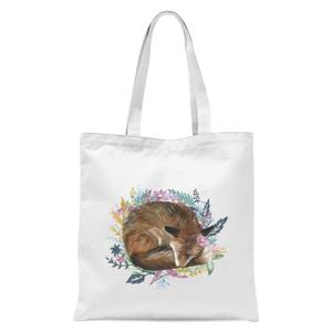 Curled Up Fox Within A Reef Tote Bag - White