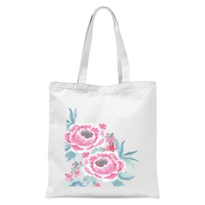 Camellia Pink Flower Tote Bag - White
