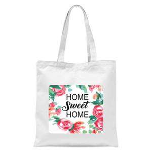 Home Sweet Home Floral Background Tote Bag - White