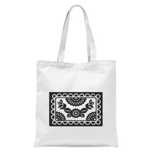 Black Cut Heart Pattern Flower Tote Bag - White