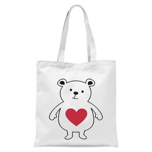 Love Heart Bear Tote Bag - White