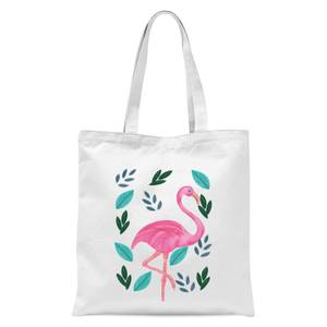Flamingo And Leaves Tote Bag - White