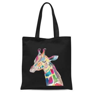 Multicolour Watercolour Giraffe Tote Bag - Black