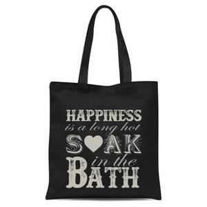 Happiness Is A Long Hot Soak In The Bath Tote Bag - Black