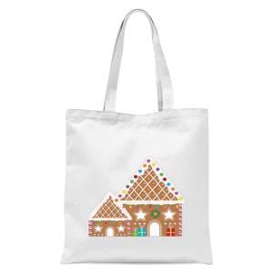 Gingerbread House Three Tote Bag - White