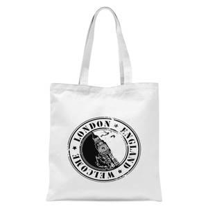London Stamp Tote Bag - White
