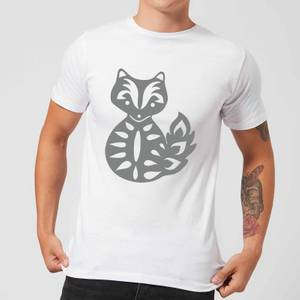 Candlelight Folk Silhouette Fox Cutout Men's T-Shirt - White