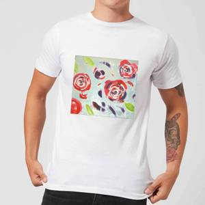 Candlelight Acrylic Painted Flowers Men's T-Shirt - White