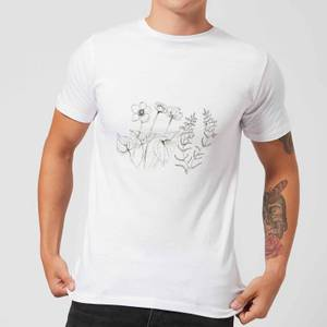 Candlelight Wild Flower Line Art Men's T-Shirt - White