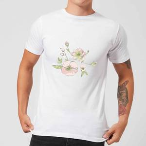 Candlelight Peony And Pansy Men's T-Shirt - White