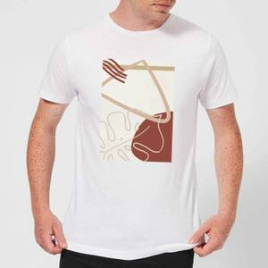 Candlelight Decorative Leaf And Shape Print Men's T-Shirt - White