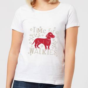 Candlelight Time For Walkies Cutout Sausage Dog Women's T-Shirt - White