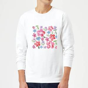 Candlelight Spring Pansy Flower Bed Sweatshirt - White