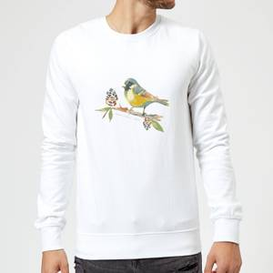 Candlelight Blue Tit On Pine Cone Branch Sweatshirt - White