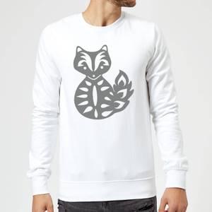 Candlelight Folk Silhouette Fox Cutout Sweatshirt - White