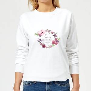 Candlelight My Dreams And Wishes Fund Floral Ring Women's Sweatshirt - White