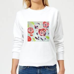 Candlelight Acrylic Painted Flowers Women's Sweatshirt - White
