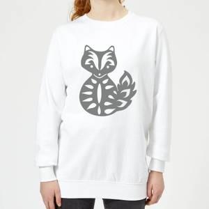 Candlelight Folk Silhouette Fox Cutout Women's Sweatshirt - White