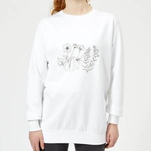 Candlelight Wild Flower Line Art Women's Sweatshirt - White